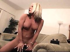 Riding a big bi cleanup toy to orgasm