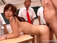 Minami Kojima sexy Asian teacher gets gangbanged in class