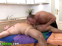 Chubby amateur and watching wife force fuck masseur