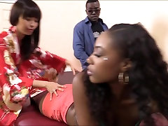 Masseuse Marica Hase licks stockings my sister pussy and analed by black cock