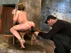 BDSM- Anal : submission with a huge dildo rammed in ass