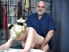 Buxom slut enjoys slut french dogging fuck with an old guy