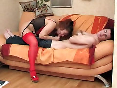 Big titted MILF in stockings banged by younger dude