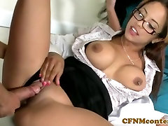 Femdoms jerking cock in trio before facial