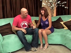 Lovely cumshot on jeans redhead in stockings fuck on the sofa HQ