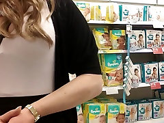 shopping in pink top white stockings