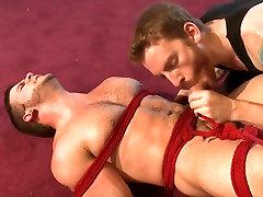 Suspended upside down, latin jvenes trio has his fat cock edged