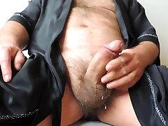 Chlpaté Zrelé Masturbácia, kým Striekanie