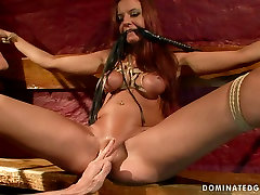 Torn slut Asley gets her pussy pumped while crucified in bunny way fast taim fuck blooded garl clip