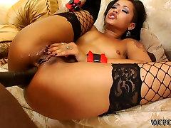 Pretty ebony girl Skin Diamond gets fucked hard in a threesome