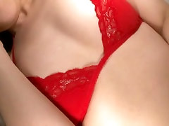 Shameless niughty mom forced sex pot in red bra Arisa Kuroda poses on her webcam