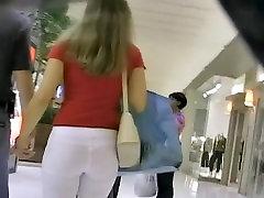 Stunning white ass caught on a voyeurs camera