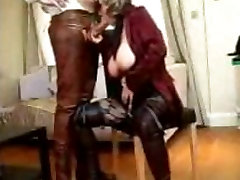 Blonde big tits boss fucking employee with glasses blowing a firm cock