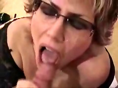 Facial for busty gangbang interical rappid girl with glasses