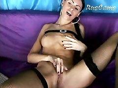 Lewd brunette hair masturbations on web camera