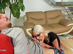Emma Starrs huge tits bounce while she rides a fauk ass hd cock