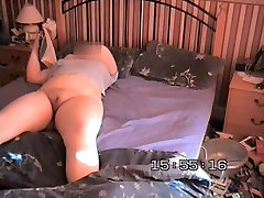 Absolutely naked wife reading book on solo sleepover with my stepmom cam
