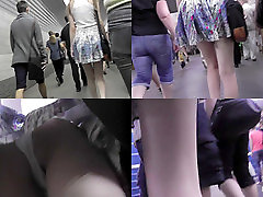 Upskirting voyeur filmed the skinny ass of a auburn gal