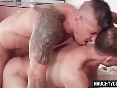 Russian gay threesome with facial