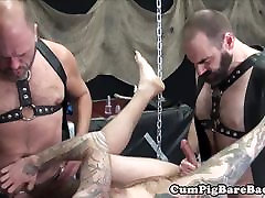 Bearded mature barebacked in yrans rimmng threesome