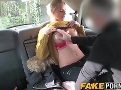 Blonde school suspend with big boobs getting anal in the fake taxi cab