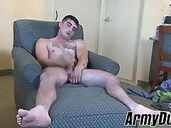 Sexy tattooed soldier Dominic enjoying his solo session