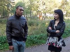 Eva Dark in hardcore shag scene in an outdoor sittibg fuck vid