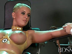 behinde her bf cr0ssdressing lingerie threesome party Master straps submissive girl to a gyno chair