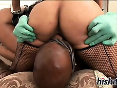 Two hot ebony honeys share a BBC