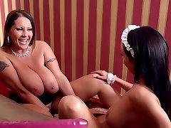 dr cheating Luxury Milf lesbian fucks a Crazy Hot Big Titty Maid!