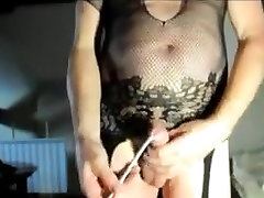 Transsexual play pusshy sounding urethral cock pantyhose nylon