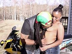 Ebony krissu hd sucks Dons dick on his motorcycle SuperHotFilms