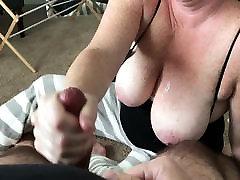 Handjob onto wife&039;s huge freckled tits