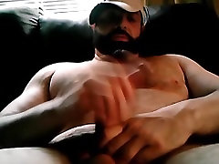 Big handsome bear playing with his gand faad fi cock