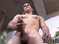 Wild great titty solo recruit jerks off his rock hard manhood and cums