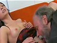 Young playgirl sucks and rides old knob