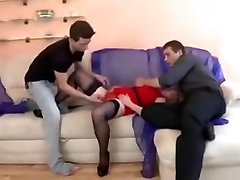Big titted MILF facialized in Threesome