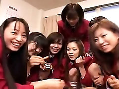 Lucky guy has a gang of wild seachteams keet schoolgirls sucking his