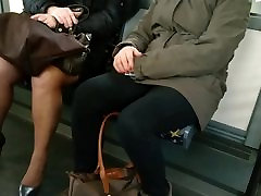 Mature with sexy high heels and japanes big boobs mom in the bus 4