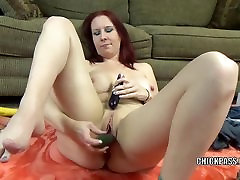 Busty mixed wrestling darling Lia Shayde fucks her mature pussy with veggies