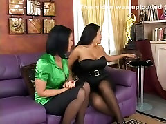 Horny pornstars Nina Mercedez and Eva Angelina in incredible big tits, lesbian porn movie