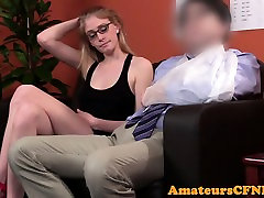 Cockhungry cfnm babe wanking off lucky dude