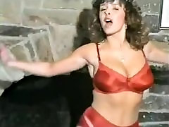 Vintage Busty Babe In Red Lingerie Stripping And Dancing.