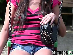 Hot brunette teen Kristina Miller gets fucked hard in public