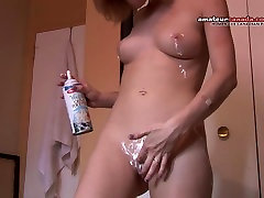 Whipped cream selfie scool gril 18 writes on skinny nice ass