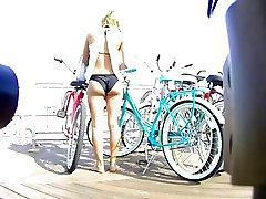 Bikini black girl analp Nice Ass Unlocking Her Bike