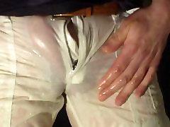 pissing female white tight shiny cargo pants