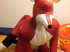 inflatable rubber fox playing and masturbating