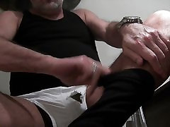Bating in spandex tights with torn suny leon sami underneath