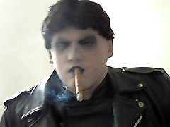 leather biker greyland masked glove smoke cigars